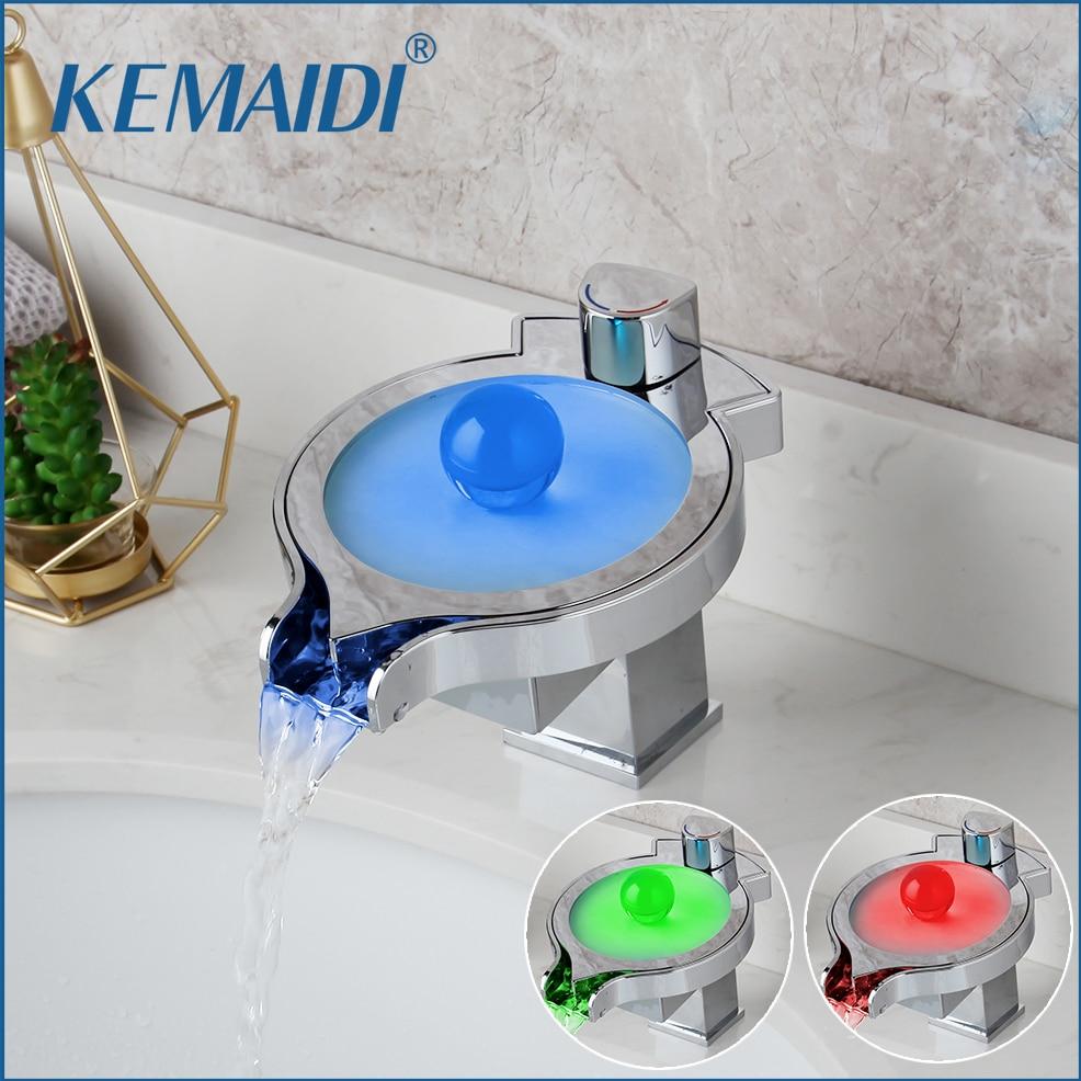 KEMAIDI LED changements de couleur cascade bassin robinet salle de bain baignoire évier mitigeur mitigeur cuisine robinet d'eau Chrome