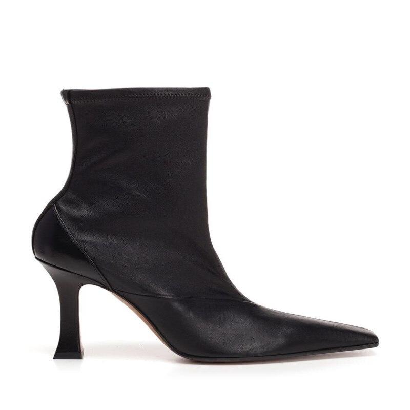2019 automne et hiver nouveau rétro carré tête stiletto Martin bottes femme à talons hauts en cuir femmes bottes