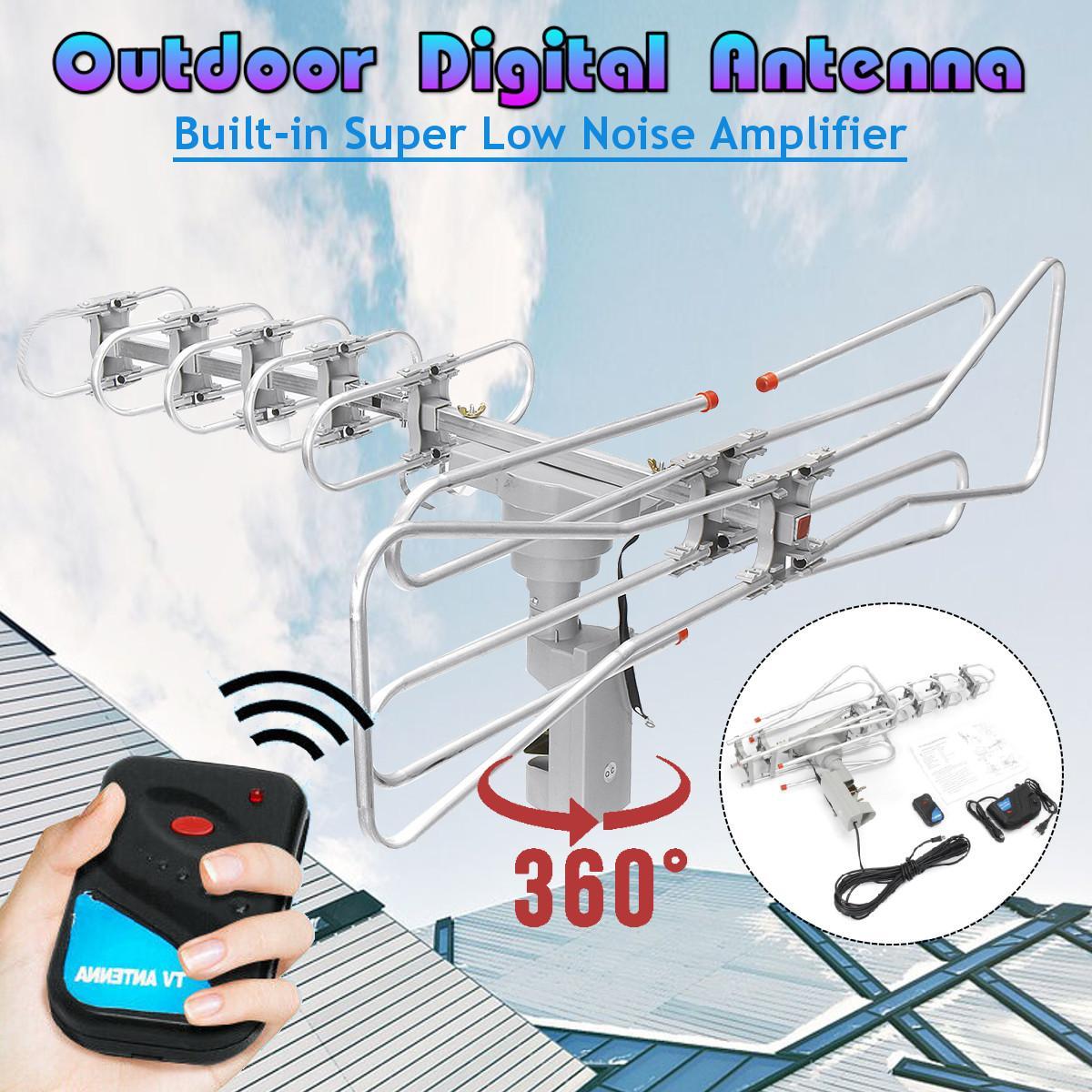 Antenne de télévision extérieure numérique HD 360 degrés pour antenne de télévision extérieure à Signal fort à Gain élevé VHF/UHF/DTV/HDTV/FM