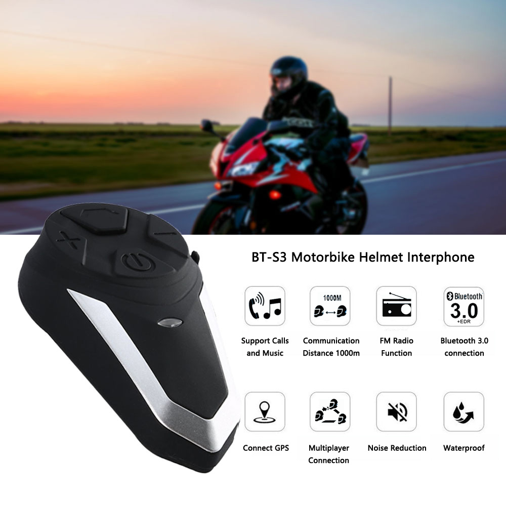 BT S3 1000M Motorcycle BT Interphone Motorbike Helmet Wireless Bluetooth Intercom FM Headset Portable Mini Interphone|Intercom Accessories| |  - title=