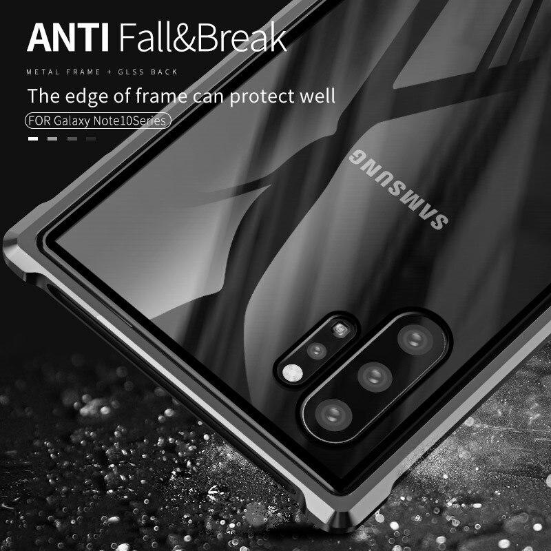 Funda de Metal de lujo marco de aluminio parachoques de vidrio templado transparente para Samsung Galaxy Note 10 Plus 10 +