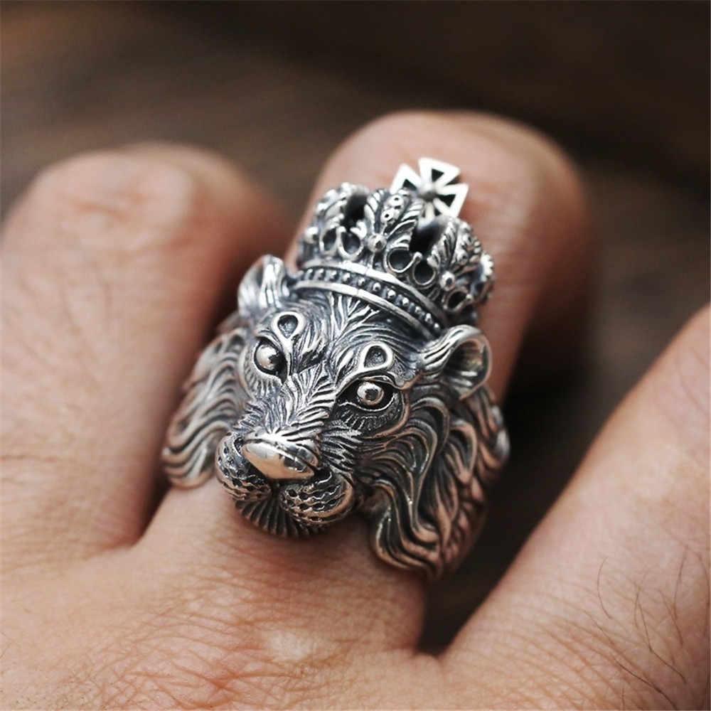 Anillo para hombres gótico Punk Retro anillo masculino Adjusta exageración Ferocious serpiente Lobo León Tigre Bulldog exquisita aleación