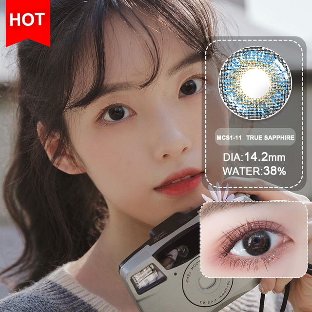 Blue Contacts 2020 NEW HIDIROCOR Two Piece Colored Contacts beautiful pupil color contact lenses contact lenses for eyes color 1