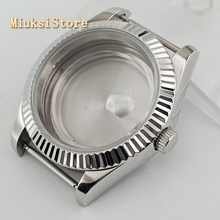 Parnis 41 millimetri vetro zaffiro argento watch case fit ETA 2836, miyota 8205 8215 82serie Mingzhu DG2813 3804 movimento