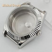 Parnis 41mm safir cam gümüş saat durumda uygun ETA 2836, Miyota 8205 8215 82 serisi Mingzhu DG2813 3804 hareketi