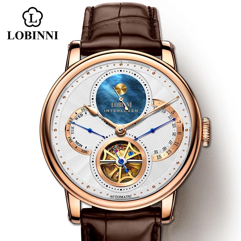 LOBINNI Watch Men Automatic Gold Mechanical Watches Wristwatches Fashion Sporty Strap Chronograph Sapphire Skeleton Watch Brands