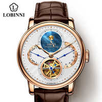 LOBINNI Watch Men Automatic Gold Mechanical Watches Wristwatches Fashion sporty strap chronograph Sapphire Skeleton Watch Brands
