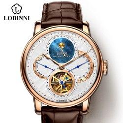 Reloj Automático LOBINNI de oro para hombre, relojes mecánicos, relojes de pulsera a la moda, Correa deportiva, cronógrafo, zafiro, esqueleto, marcas de relojes