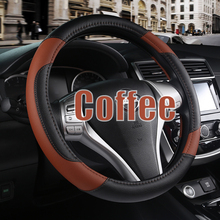 -stitched Black Leather Steering Wheel Cover for  Toyota Land Cruiser Prado 120