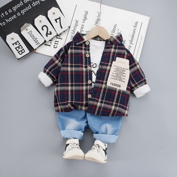 HYLKIDHUOSE 2020 Spring Boys Clothing Sets Plaid Shirt T Shirt Pants Baby Casual Clothes Comfortable Baby Clothing Suits