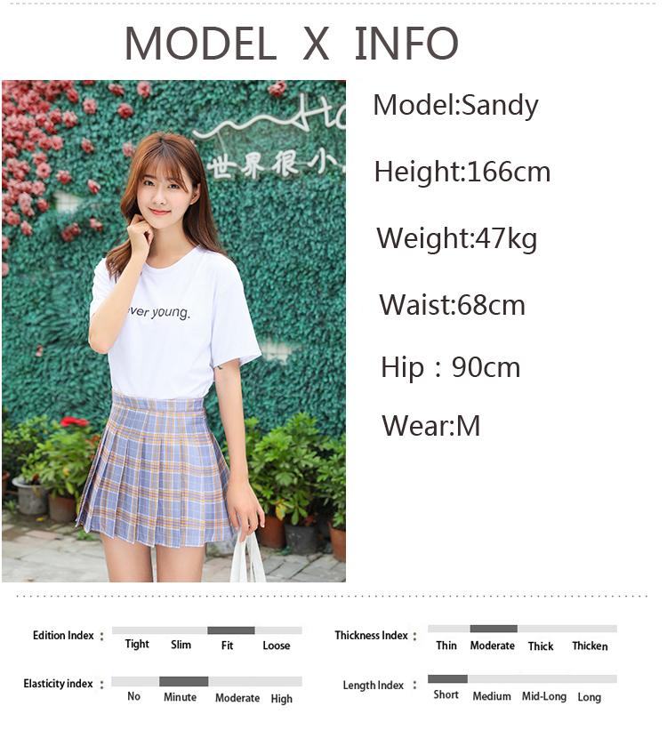 XS-XXL High Waist A-Line Women Skirt Striped Stitching Sailor Pleated Skirt Elastic Waist Sweet Girls Dance Skirt Plaid Skirt 69
