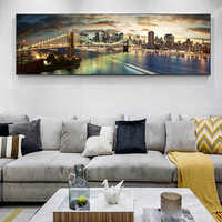 Brooklyn Bridge Night Landscape Canvas Paintings On The Wall Posters And Prints New York City Canvas Pictures For Bed Room Decor