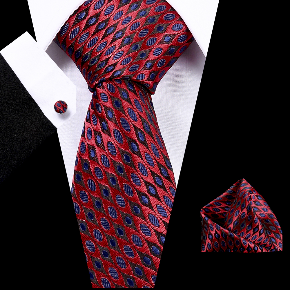 Mens Skinny Neck Tie Blue And Red Polyester Silk Plaids Stripes Dots Jacquard Woven 7.5 Cm Necktie Wedding Party Ties For Mens