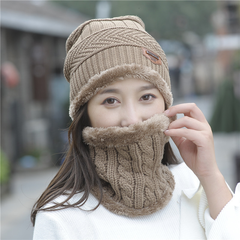 Women Scarf Hat Sets Ma'am Wool Hat Windbreak Knitting Hat Warm Increase Cashmere Thickness Scarf Integral Triangle Mark Set Hat