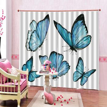 blue butterfly curtains 3D Window Curtain Blackout curtain Luxury Blackout For Living Room