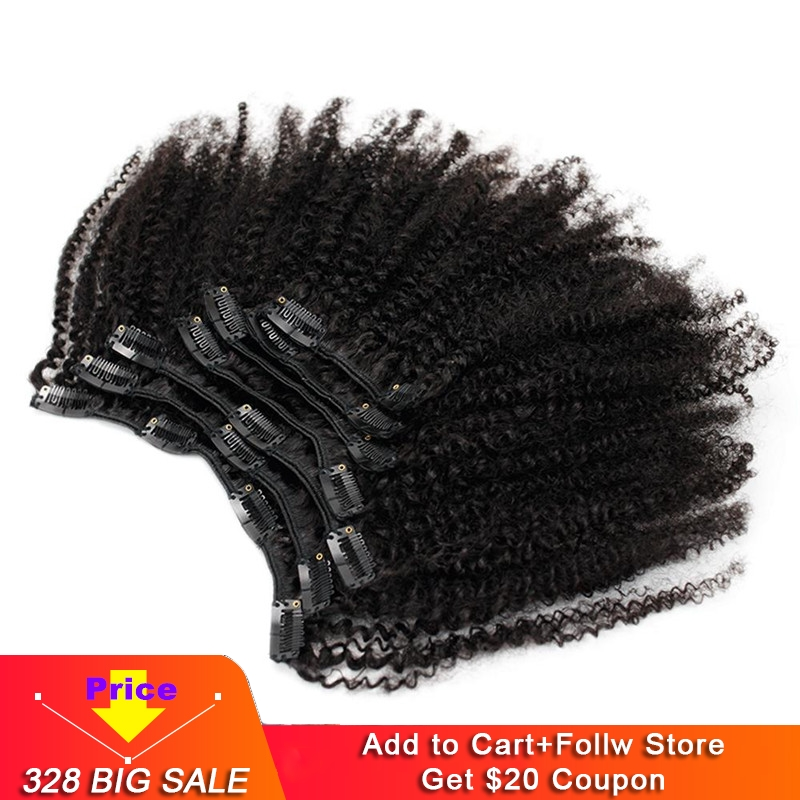 Eseewigs 4b 4c Clip In Hair Extensions Afro Kinky Curly Brazilian Remy Human Hair 7pcs/Set 120g Natural Black