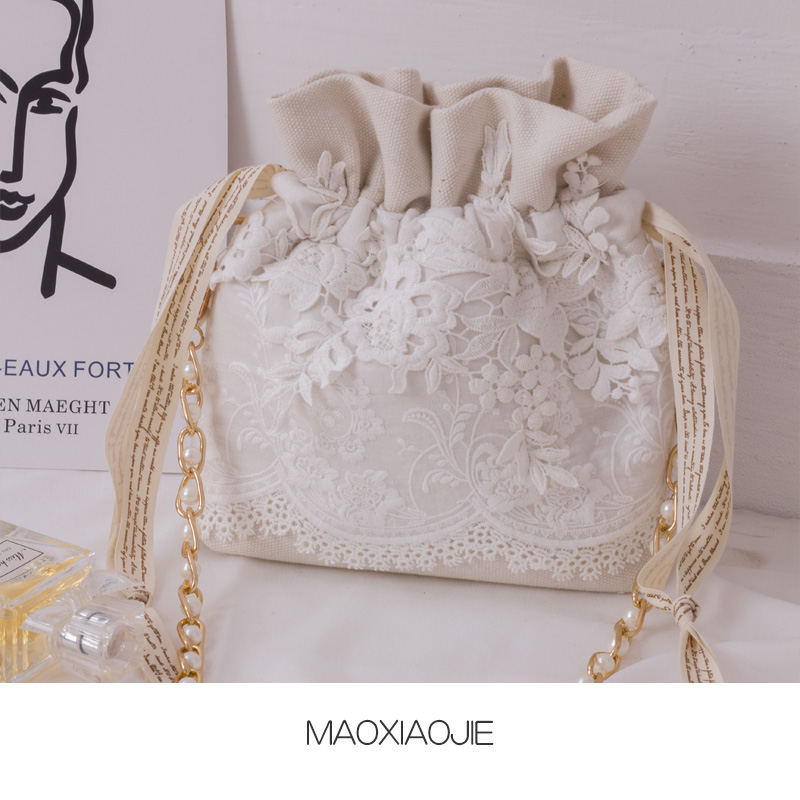 Angelatracy 2019 New Arrival Pearl Women Fresh Lace Chain Storage White Bag Phone Crossbody String Bag Bucket