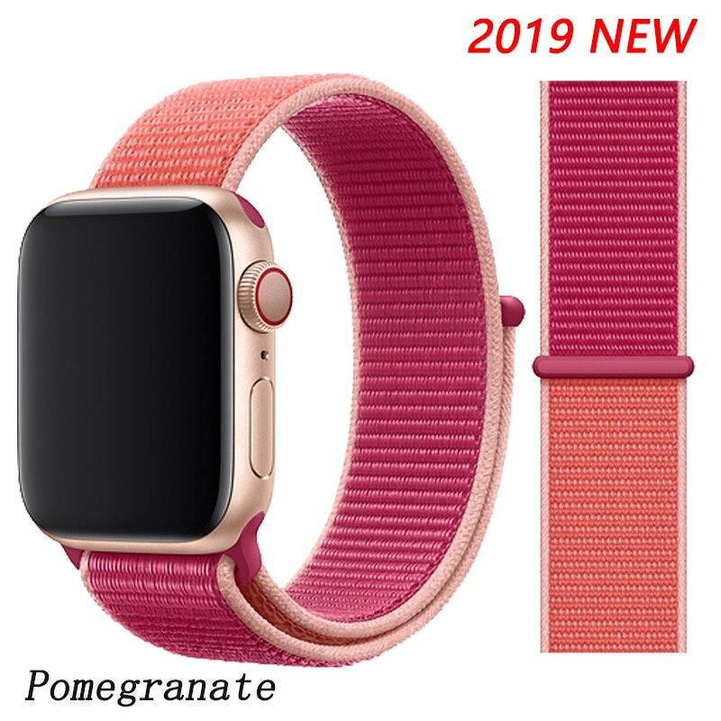 Спортивная петля ремешок apple watch band 42 мм 38 мм apple watch 4 3 band iwatch band 44 мм 40 мм correa pulseira 42 44 нейлоновый ремешок для часов - Цвет ремешка: Pomegranate