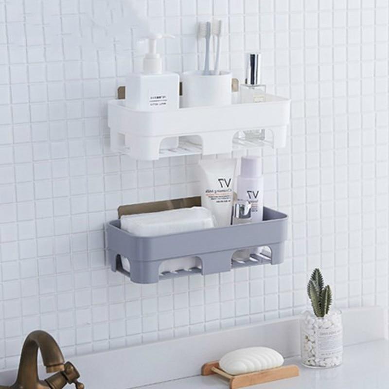 Punch-free Bathroom Shelf Plastic Toilet Bathroom Vanity Wall Hanging  Storage Rack Basket No Trace Stickers XI3081524