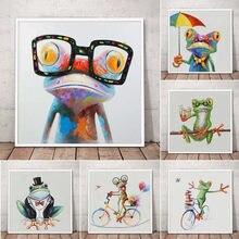 Feliz sapo com óculos pintura da lona bonito dos desenhos animados animais cartazes e impressões cuadros parede arte imagem moderna do quarto do miúdo