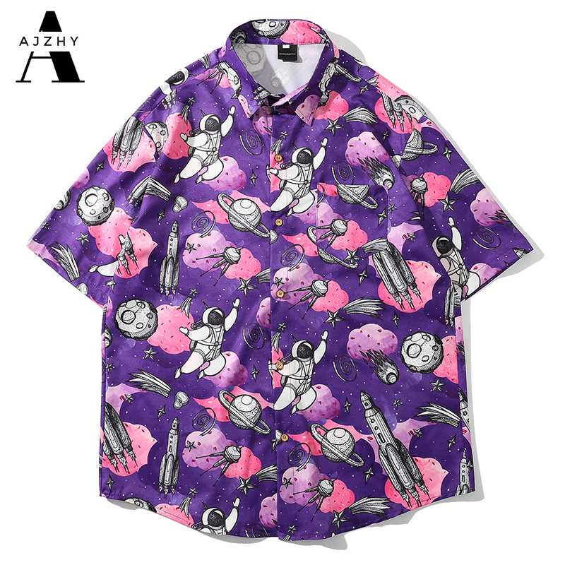 Space Print Hawaiian Shirts Streetwear Hip Hop Harajuku Casual Tropical Beach Short Sleeve Shirt Men Summer Fashion Tops Male