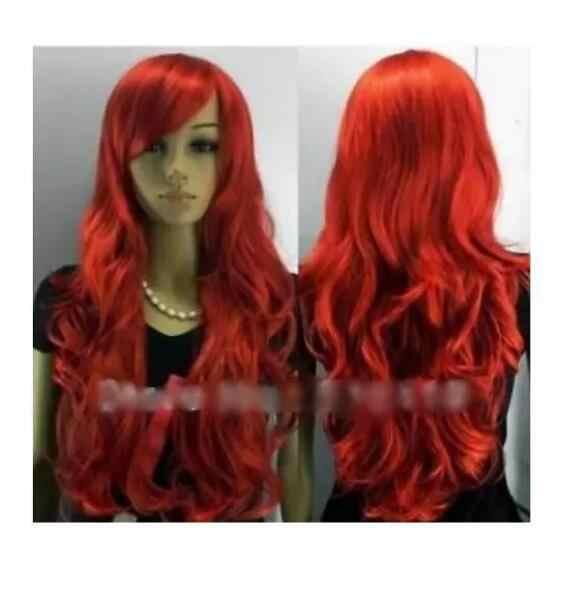 Zhaoxia + + 07783 @ q8 @ * + + frete grátis novo longo vermelho encaracolado peruca de festa cosplay feminino