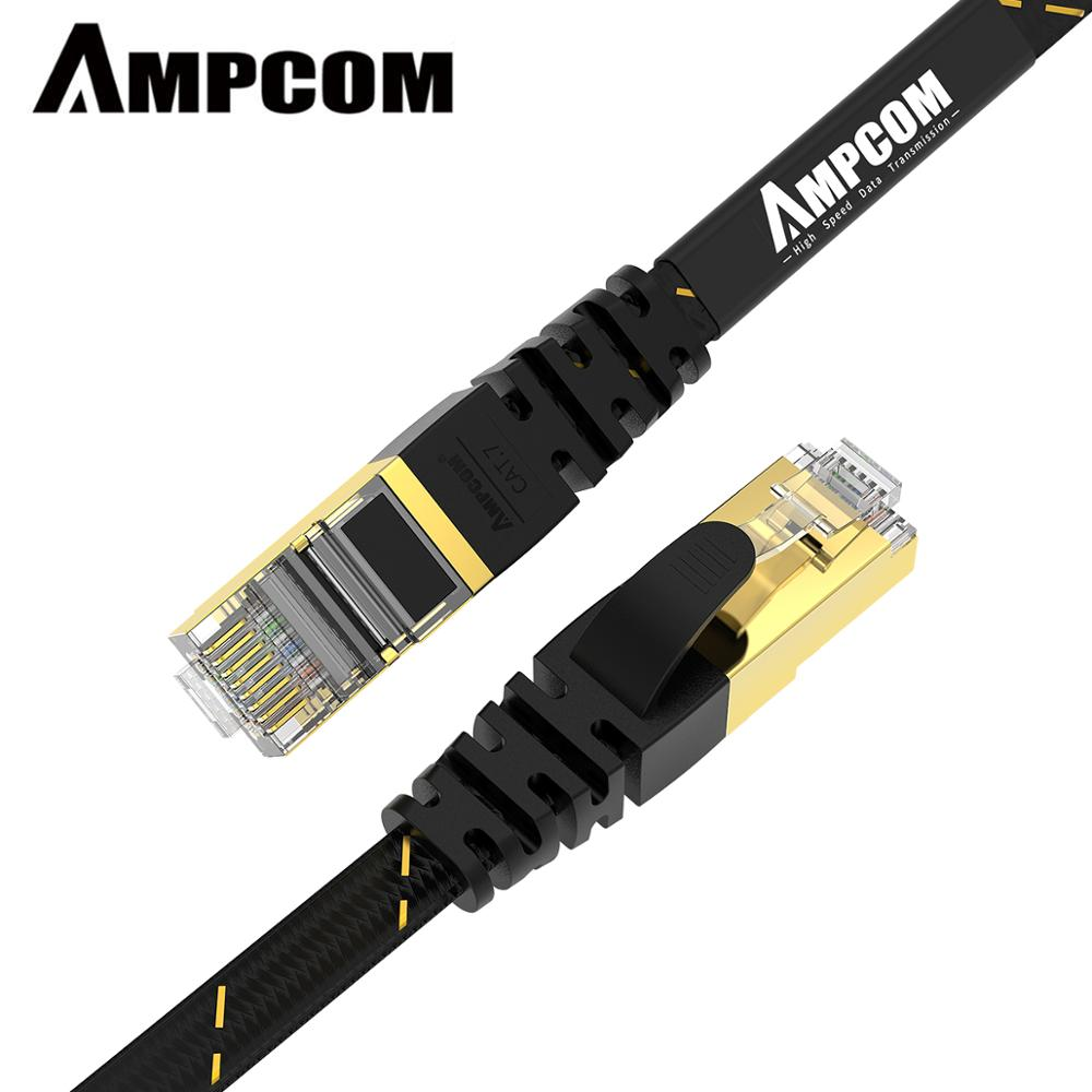 Ethernet-кабель AMPCOM RJ45 Cat7 Lan кабель [5-30 м] STP RJ 45 плоский сетевой кабель Патч-корд Ethernet