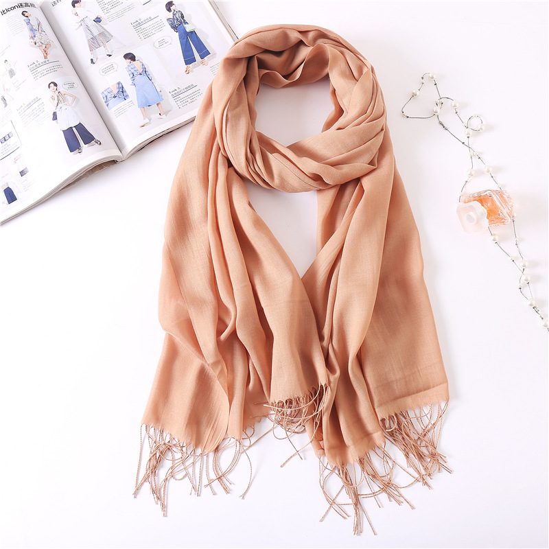 Women Solid Color Cotton Scarves With Tassel Lady Winter Thin Spring Scarf Summer Luxury Female Shawl Warm Scarve For Women
