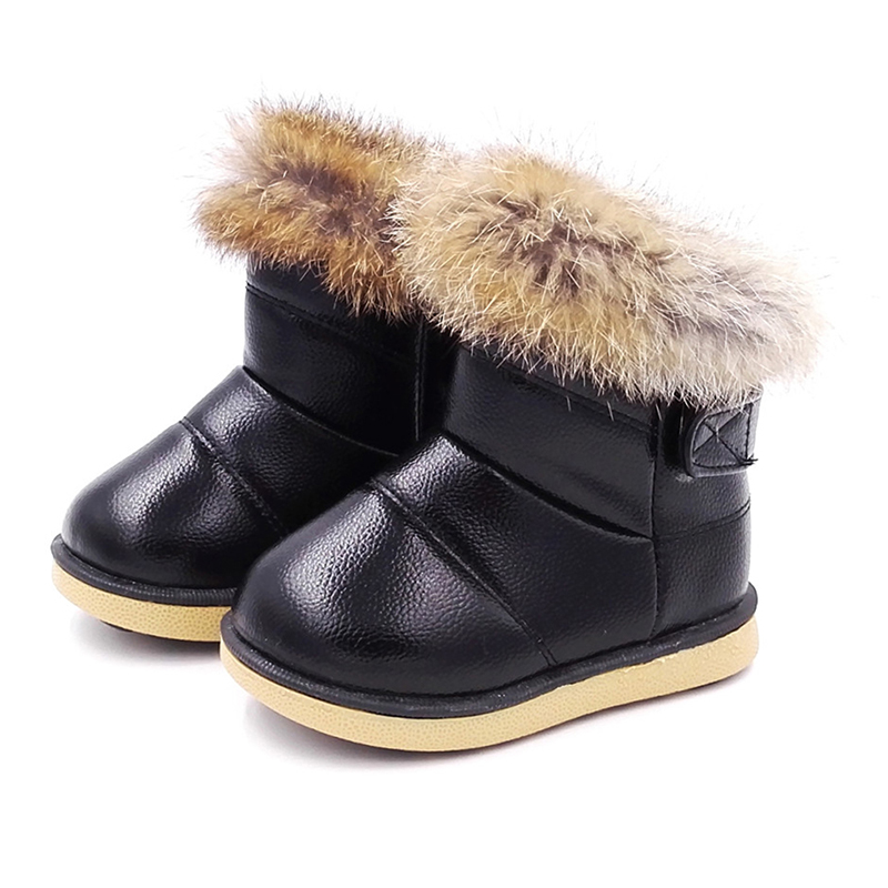 Baby Winter Snow Boots Warm Plush Rabbit Fur Children Winter Boots Kids Girls Boys Shoes