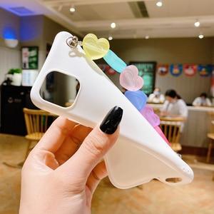 Image 4 - Funda de silicona con correa de TPU para iphone, funda de silicona con arcoíris, Love, para iphone 12 11 Pro XS Max XR X 8 7 6 6S Plus SE 2020