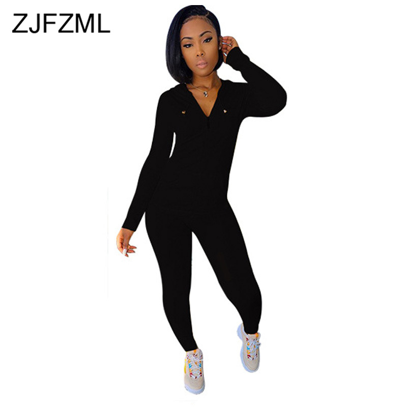 Solid Causal Two Piece Set Women Clothes Hooded Full Sleeev Zipper Up Jacket And Skinny Long Pants Plus Size Ladies Trackusits