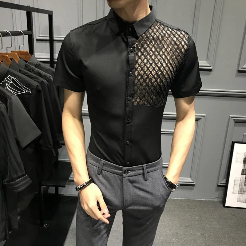 Men Long Sleeve Leopard Printed See Through Mesh Shirt Party Clubwear Top Blouse