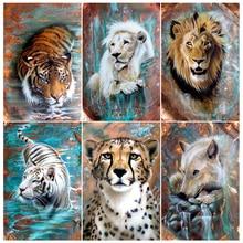 Full Square/Round Diamond Painting Diamond Lion Tiger and Leopard Diamond Inlaid 5D DIY Rhinestone Mosaic Home Decoration Gift