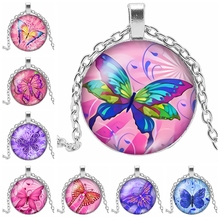 2019 New Color Sexy Flower Butterfly Glass Convex Round Pendant Necklace Anime Handmade Assembly