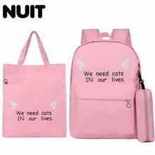 Women Canvas 3Pcs/set Backpacks Bagpack Korean Cute School Back Pack Bag For Teenager Girls Children Student Backpack Schoolbag