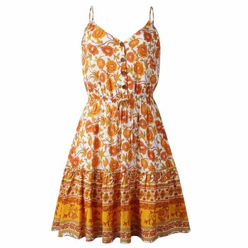 Summer Women Print V-Neck Dress 3