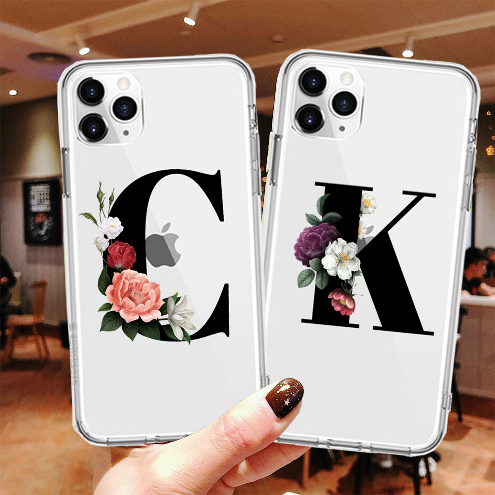 Custom Letter Transparent Soft TPU Case For IPhone 11 Pro Max 5 5S SE Silicone Back Cover For IPhone X XR XS MAX 7 8 Plus Capa