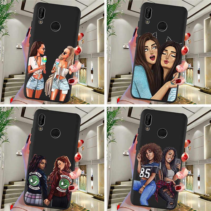 Mujer amigo para Huawei P8 P10 P20 P30 Mate 10 20 Honor 8 8X 8C 9 V20 20i 10 Lite funda de Funda Plus Pro Funda bonita