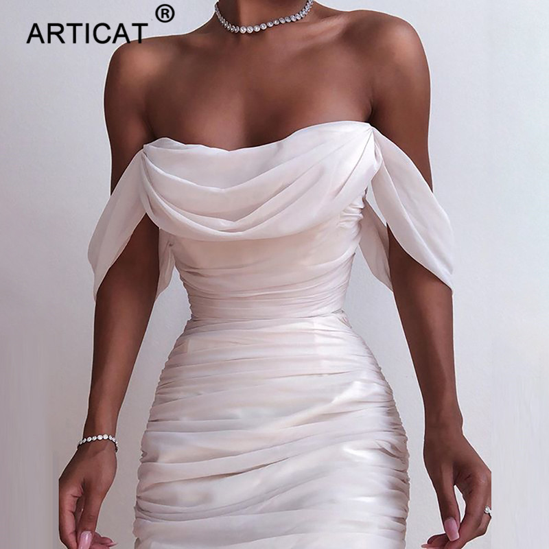 Articat Double Layers Sexy Mesh Party Women White Off Shoulder Backless Bodycon Ruched Dress Elegant Long Maxi Dress Vestidos