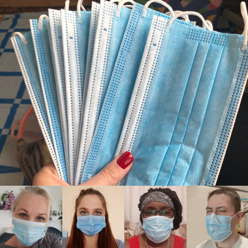 5-100pcs Mask Disposable Nonwove 3 Layer Ply Filter Anti Dust Mask Face маска Safety Meltblown Cloth Maska Protective Masks