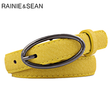RAINIE SEAN Women Belt Pu Leather Yellow Red Black White Purple Camel Thin Womens Ladies Accessories Belts