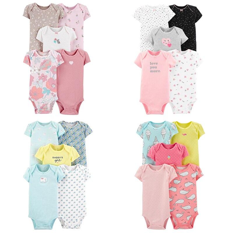 2021 5 יח'\חבילה תינוק בגד גוף עם שרוולים קצרים תינוק 100% כותנה בגדי סט יילוד קיץ סרבל ילדים Cartoon חתיכה אחת 6-24 m