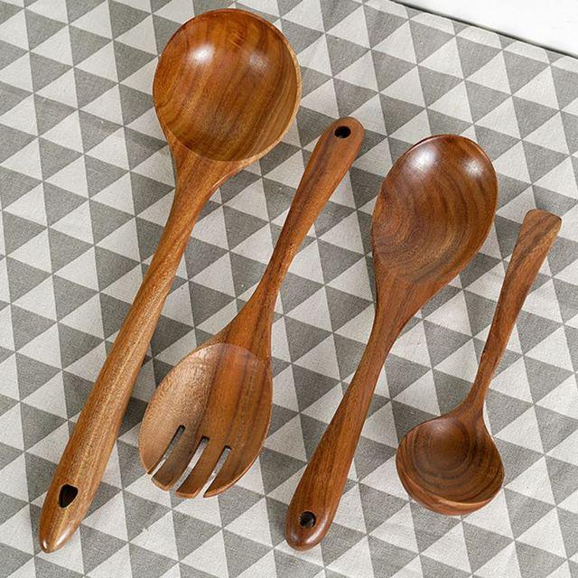 Wok antiadhésif en teck, sauté, pelle, cuillère en bois massif, cuisine spéciale wok pelle cuisson riz spatule Scoop ustensile de cuisine non