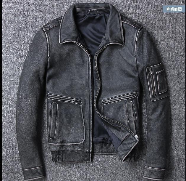 Free Shipping.Brand Fashion New Clothing,mens Cow Jackets,men's Genuine Leather Jacket.vintage Gray Man Jacket Plus