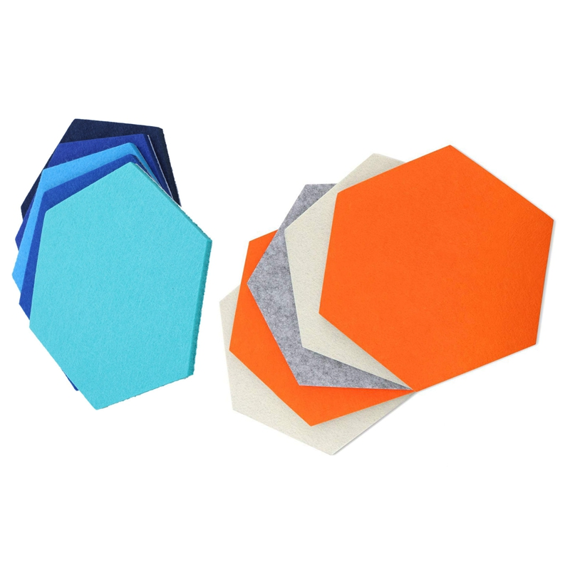 10 Pcs Felt Board Hexagonal Felt Wall Sticker Multifunction 3D Decorative Home Message Board Self-Adhesive Kids Room Baseboard,