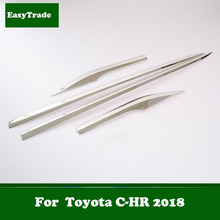 Car Door Body Chrome Side Molding Protector Trim Stainless Steel Anti-rub strip sticker For Toyota CHR C-HR 2018 Accessories цена и фото