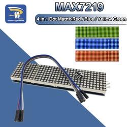 Модуль точечной матрицы MAX7219 для микроконтроллера Arduino 4 в одном дисплее с линией 5P 4 в 1 красный/синий/желтый зеленый