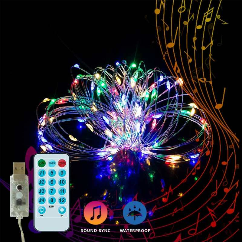 Led String Light Music String Light 5M/10M Copper Wire LED String Lights USB Outdoor LED Fairy Lights Waterproof For Christmas