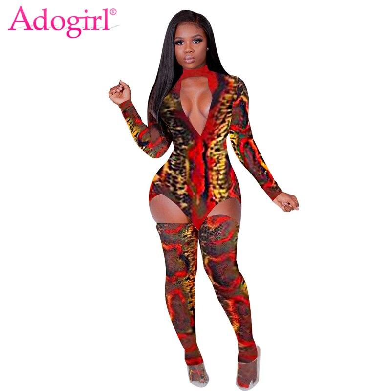 Adogirl Snakeskin Print Women Sexy Two Piece Set Chocker V Neck Long Sleeve Asymmetrical Mini Dress + Stockings Night Club Wear