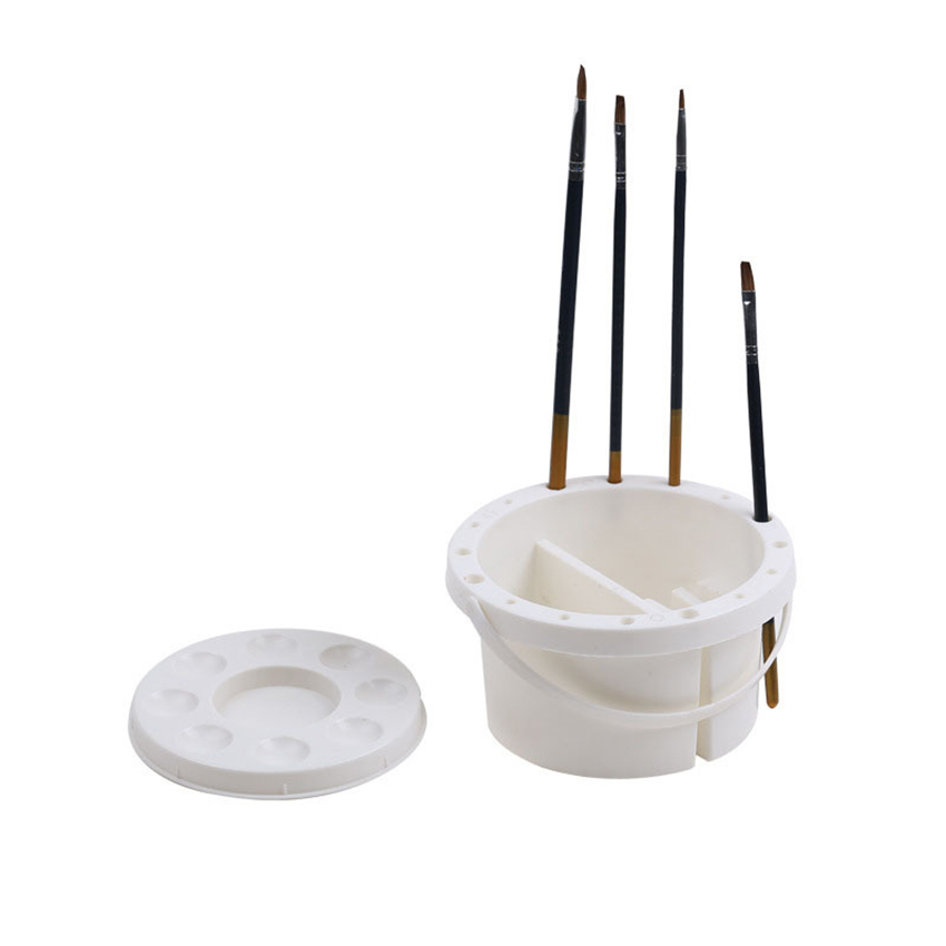 Plastic Pen Brush Washing Bucket Multifunction Pen Bucket With Handle Painting Brush Washer for Drawing Art Tool Supplies